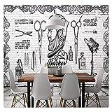 Wandbild Tapete Europa Und Das Vereinigte Königreich Britische Retro Trend Friseursalon Hintergrund Weiße Backsteinmauer 3D Wallpaper, 250Cmx175Cm