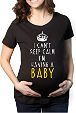YaYa Cafe Mothers Day I Can't Keep Calm I am Having a Baby Women's Pregnancy Maternity T-shirt Top Tee Round Neck Half Sleeves