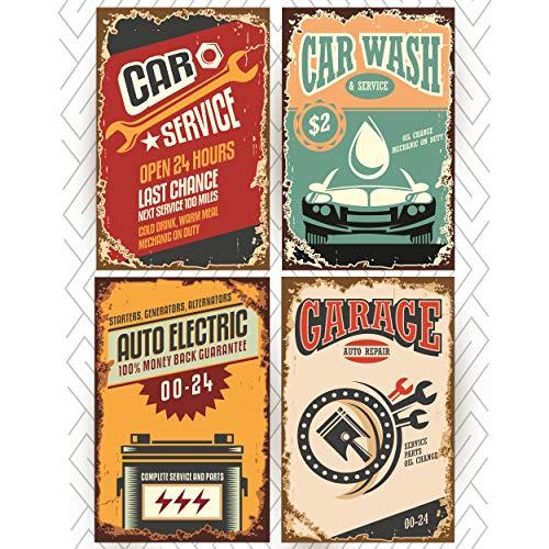 Juego de cuatro letreros para garaje, 11 x 17 Divertidos letreros vintage para la tienda de reparación de automóviles o un garaje de lavado de coche. Ideal como regalo de graduación o carteles universitarios