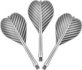All in One–Flight und Schaft Combo–stabiler Kunststoff–Silber–mit Darts Ecke gebogen Kugelschreiber