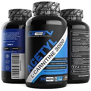 Acetyl L-Carnitin 3000 mit 250 Kapseln – 3000 mg pro Tagesportion – Premium: L-Carnitine als Acetyl Form – Hochdosiert – Laborgeprüfte Qualität – Vegan