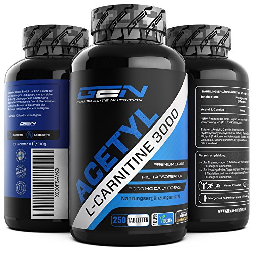 Acetyl L-Carnitin 3000-250 Tabletten - 3000 mg pro Tagesportion - Extra Stark - 100% Acetyl L-Carnitine - Stärkste L-Carnitine Form - Vegan - Premium Qualität - German Elite Nutrition