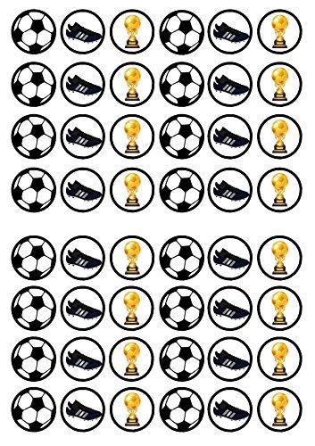 48 Football #2, Fußball, Essbare PREMIUM Dicke GEZUCKERTE Vanille, Reispapier Mini Cupcake Toppers, Cake Pops, Cookies für Wafer