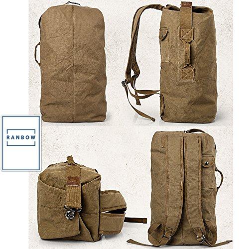 Ranbow della tela borsa da viaggio zaino di campeggio rampicante bagagli pacchetto, Cammello, 60 centimetri 50 centimetri nero