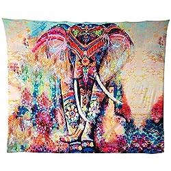 Tapicería Elefante, HailiCare 150*130cm Psicodélico Tapiz Hippie Mandala de Pared Decoración de la Naturaleza del Hogar para Mantel Sala de Estar Ddormitorio Naranja
