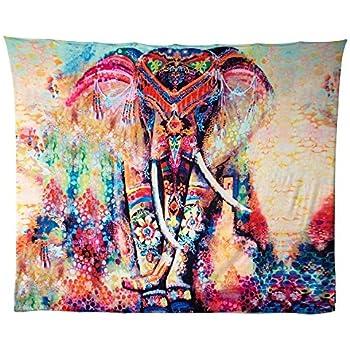 Hailicare tapisserie murale el phant tapis de plage mandala tenture psych d lique pour d corer - Decoration chambre psychedelique ...