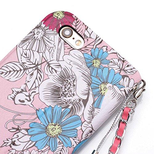 [4.7] iPhone 6 Hülle,iPhone 6S Hülle,BtDuck Vintage Mode Damen Blumen Blume Kette Tasche Schultertaschen Handtasche Design Brieftasche Ledertasche Cover Case Schutzhülle für iPhone 6/iPhone 6S Handyt iPhone 6/6S - Blume#2