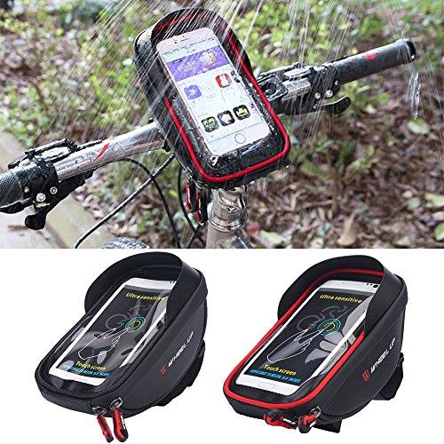 Fahrrad Tasche Wasserdichte Rahmentasche Touch Screen Handytasche Lenker Tasche Fahrradsattel Beutel für Handy bis 6,0 Zoll Schwarz