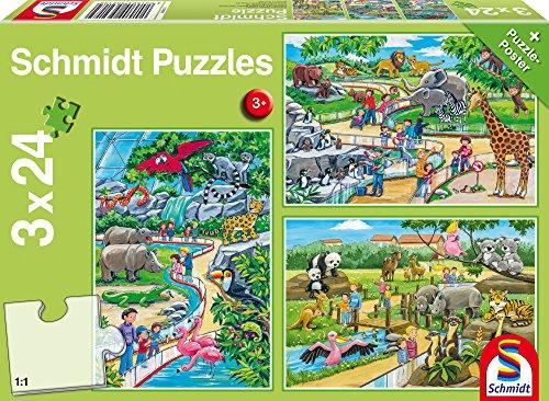 Schmidt Spiele Puzzle 56218 - Standard 3 x 24 Teile Ein Tag im Zoo
