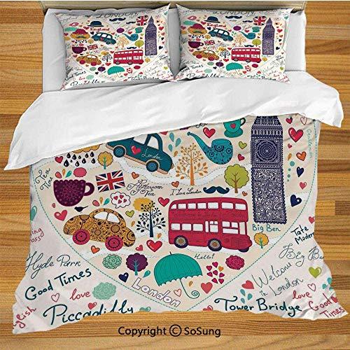 Ensemble de housse de couette London Bedding, symboles colorés, bus rouge, chapeau de parasol Big Ben, chapeau, cabine noire rétro dans un ensemble de literie décoratif imprimé de 3 pièces avec 2 couv