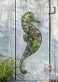 "Wanddeko ""Seepferdchen"" Metall Wandverzierung Gartendeko modern ausgefallen Deko Wandhänger Metallhänger"