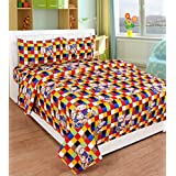 Cotton Double Bedsheet Cartoon Print With 2 XL Pillow Covers - Size 90 X 100 Inch And Pillow Cases Size 19X29 (XL) By Decoholic