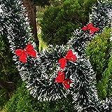 Reveryml Decorazioni Natalizie 200 Cm Decorazioni di Natale Mall Bar Top Nastro Ghirlande Stelle filanti Decorazioni per L'Albero di Natale Bianco Canutiglia di Canna Verde per Feste