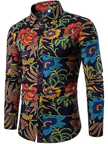CLOCOLOR-Camisa-Hawaiana-Hombre-de-Manga-Camisa-Algodn-para-Hombre-Casual-Talla-Grande-Camiseta-Brasilea-Hombre-Estampado-Dimensin-Ropa-de-Hombre-Casuale-Men-Shirts-Slim-Fit-de-Moda-Roja-4XL