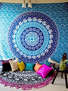 Folkulture Blue Elephant Indian Mandala Tapestry Wall Hanging, Bohemian Hippie Ombre Bedding for Bedroom, Hippy Beach Throw or Picnic Blanket, College Dorm Room Decor, Queen Size Bedspread, Bonus Pair of Boho Earrings