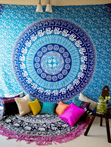 Color azul elefante Mandala tapiz Hippie bohemio colgante de pared, indio, Hippy Mandala Juego de ropa de cama para dormitorio, College habitación dormitorio pared arte o decoración para el hogar, tamaño de la Reina edredón Floral