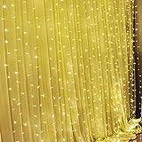 SOLMORE LED Lichterkette Vorhang Leuchtvorhang Warmweiß 3m x 3m Mit 8 Modi 300LEDs Lichtervorhang Romantisch Licht Schnur String Fairy Lights