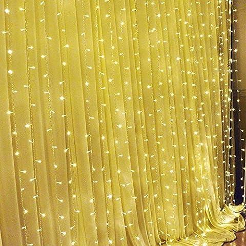 SOLMORE LED Lichterkette Vorhang Leuchtvorhang Warmweiß 3m x 3m Mit