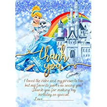 Las niñas Disney princesa Cenicienta fiesta de cumpleaños invitaciones tarjetas de agradecimiento, incluye sobres