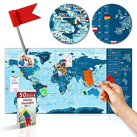 decomonkey | Rubbelweltkarte Pinnwand | 90x45 cm | Weltkarte zum Rubbeln mit Fahnen/ Nationalflaggen | Rubbelkarte | FULL HD | Rubbellack | Rubbelbild | Mehrfarbiger Rubbellack | Scratch Off World | Travel Map | Landkarte | inkl. 50 Markierfähnchen | Pinnadeln