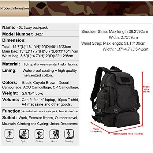 Imagen de huntvp táctical  militar  asalto  gran bolsa de hombro impermeable 40l para las actividades aire libre, senderismo, caza ,viajar, color negro alternativa