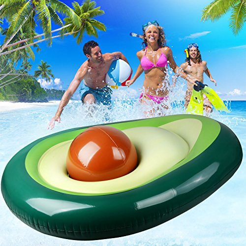 Aufblasbare schwimmende Zeile Float Pool Spielzeug für Erwachsene Pool Party, avocado, 64.96x51.18inch