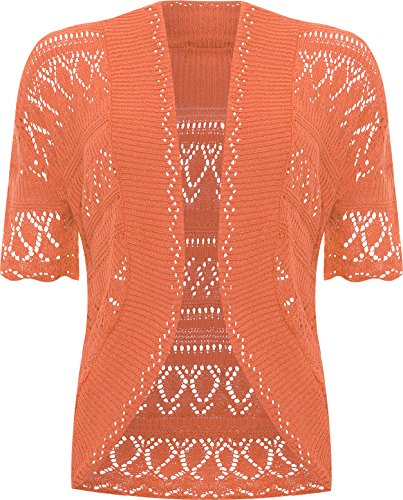 WearAll - Grande taille crochet tricoté bolero gilet top à manches courts - Hauts - Femmes - Tailles 48 à 54 Orange
