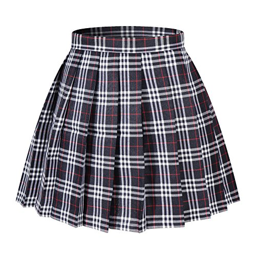 Beautifulfashionlife Damen Japan High Waisted Plissiert Cosplay Kostüme Röcke - Mehrfarbig - 71W(cm/71 cm)