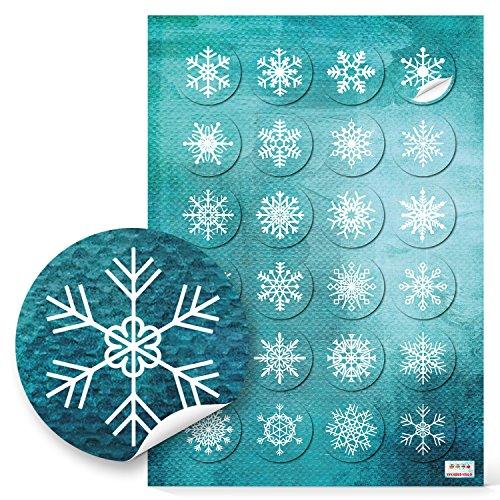 48 kleine runde türkis blau weiß SCHNEEFLOCKEN Weihnachtsaufkleber Aufkleber 4 cm - Geschenkaufkleber selbstklebend Sticker Weihnachten zur Verpackung von Geschenke give-away Papiertüten Tüten zukleben