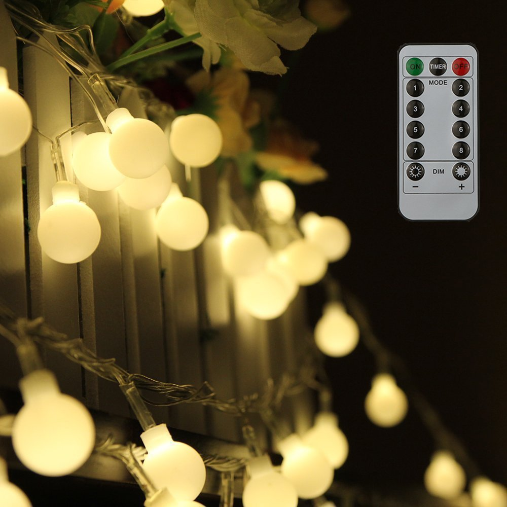 Waterproof String Lights Globe 8 Modes With Remote Control Patio Garden Timer Decor