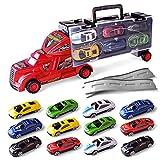 Kompassswc Kinder Spielzeugautos Autotransporter LKW Set mit 12 Rennrad Cars mit Trennwand LKW Koffer mit Tragegriff