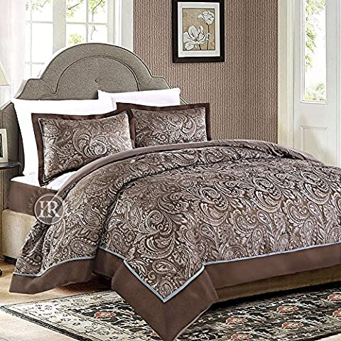 Imperial Rooms 3 Piece Jacquard Bedspread and Two Pillow Shams Paisley Pattern Premium Quality Comforter Set (Double (218cm x 230cm), Brown & Duck Egg Blue)