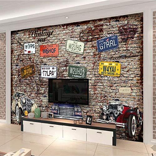 L22LW Wandbild Retro Nostalgischen Nummernschild Oldtimer Schaufenster Bar Restaurant Hintergrund Wandtuch Cafe Ktv Wandbild-500Cm*280Cm(H)
