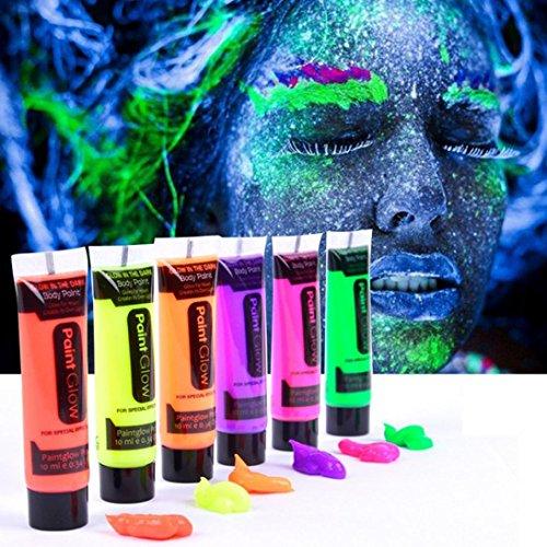 LCLrute Top Qualität 6 Farben Glow In Dark Body Art Farbe 10ml UV Glow Face Körperfarben (Glühen)