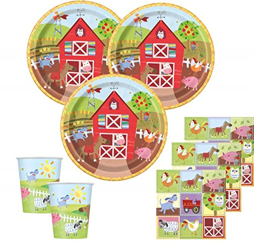32 Teile Kindergeburtstag Bauernhof kleine Farm Party Deko Set 8 Personen