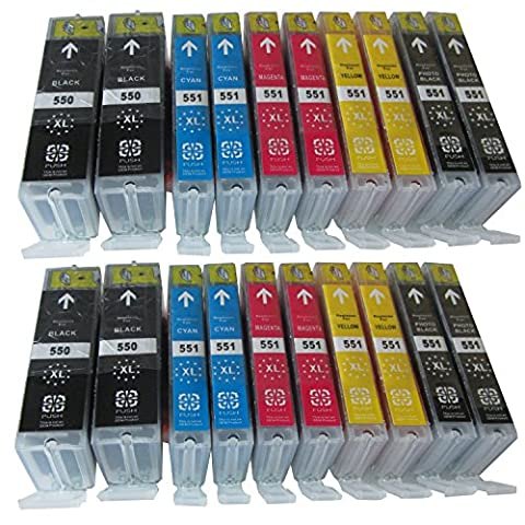 20 XL Economy Set Comp Ink Cartridges with Chip for Canon Pixma MG 7550 7150 6650 6450 6350 6300 5650 5550 5450s 5450 5400/Canon Pixma IP 7250 8750/Canon Pixma MX 725 925/Canon IX 6850, You Get 4 x Canon PGI-550BK XL, 4 x Canon CLI-551BK XL, 4 x Canon CLI-551C XL, 4 x Canon CLI-551M XL, 4 x Canon CLI-551Y XL