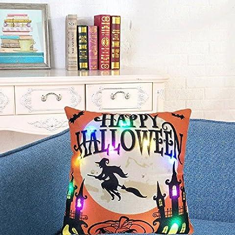Xshuai Hochwertiges waschbares 45cm * 45cm Glückliches Halloween-Beleuchtung LED-Kissen-Abdeckungs-Ausgangsdekor-Wurf-Kissenbezug-Sofa-Blinkt (Mehrfarben A / B / C / D) (45cm * 45cm, B)