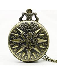 ShopyStore Game Of Thrones Hear Me Roar Lannister Theme 3D Bronze Quartz Pocket Watch With Fob Chain