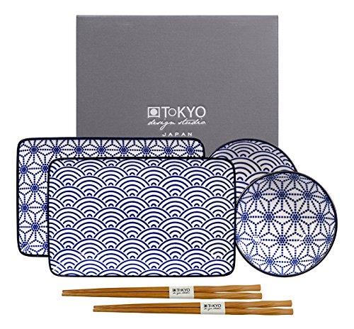 Tokyo Design Studio, Sushi Set, 6-teilig, Japan, blau/weiss Design Sushi-set