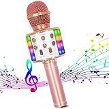 Micrófono de Karaoke Inalámbrico, Bluetooth Micrófono 4 en 1 Reproductor de Karaoke Portátil con Luces LED de Baile Compatibl