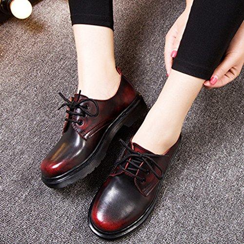 Oasap Femme Chaussures Oxford Bout Rond A Lacet Talons Bas Talons Bloc Burgundy