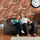 Bean Bag Bazaar® XXXL Sitzsack MONSTER Doppel – Lederimitat Riesen Sitz Sack – Sitzsack Groß genug für 2! (Braun)