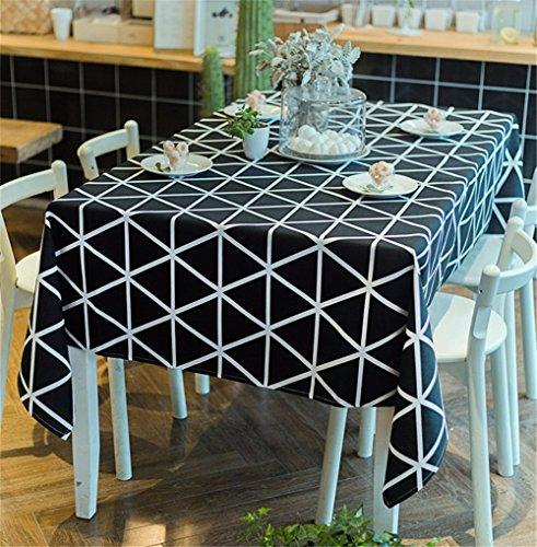 FLYRCX Moderne européenne géométrique noir et blanc Toile de coton à carreaux, nappe en tissu anti-poussière,140x180cm