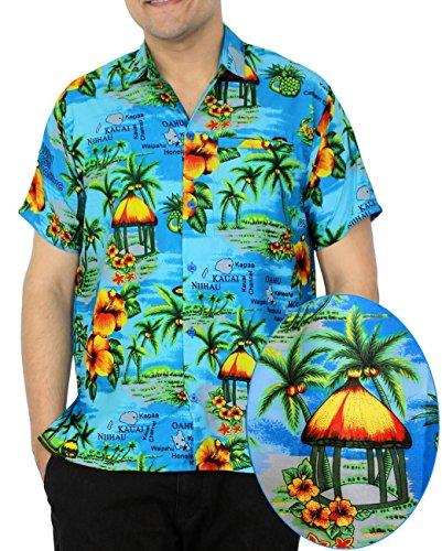 LA-LEELA-Shirt-camisa-hawaiana-Hombre-XS-5XL-Manga-corta-Delante-de-bolsillo-Impresin-hawaiana-casual-Regular-Fit-Camisa-de-Hawaii-Azul-Del-Trullo-1215-XL