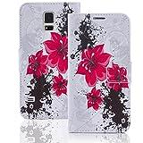 numerva Handyhülle kompatibel mit HTC Desire Eye Hülle [Red Flower Muster] Case HTC Desire Eye Handytasche