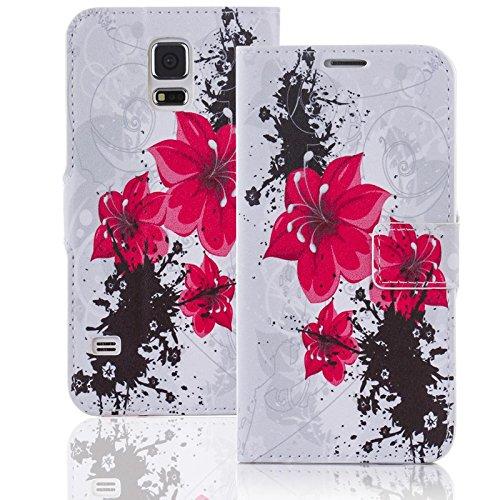 Numerva HTC Desire Eye Hülle, Schutzhülle [Design Bookstyle Handytasche Motiv] PU Leder Tasche für HTC Desire Eye Wallet Case Flip-Cover [QJC-119 Rot]