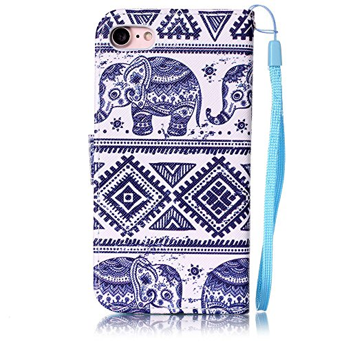 """iPhone 7 Coque Bleu Cuir Portefeuille Etui Rabat Style Coloré Peinture Image ( Petite maison ) Case pour Apple iPhone 7 4.7"""" Bleu-8"""