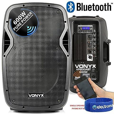 Vonyx AP1200ABT 12 Inch PA Active Powered Bluetooth Speaker 600W