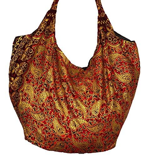 Sac à Main Ethnique Coton Besace bohème Porté Epaule Boho rouge doré femme fourre tout ethnic bag red Coton batik imprimé artisanal