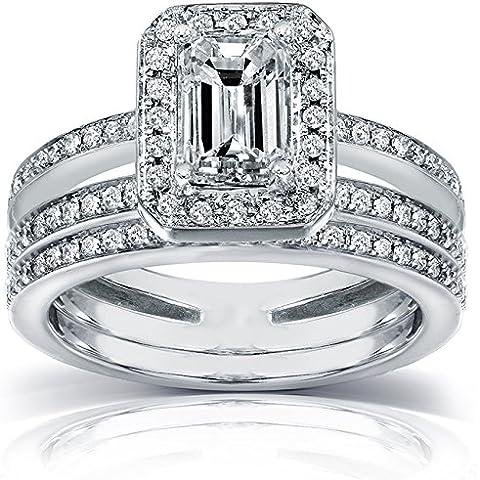 Taglio smeraldo, a forma di anello con diamante 1/2 carato (ctw) in oro bianco 14 k